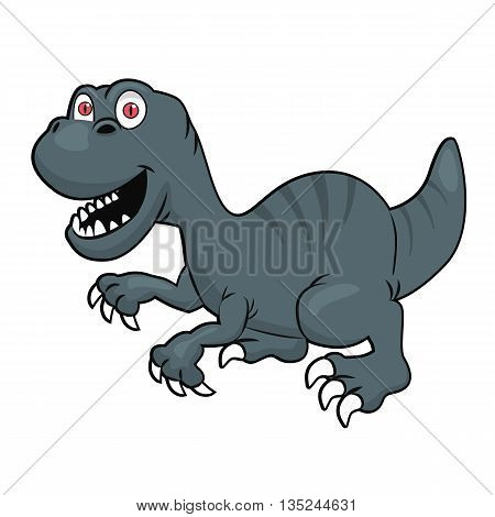 Cute velociraptor or raptor dinosaur isolated over white background