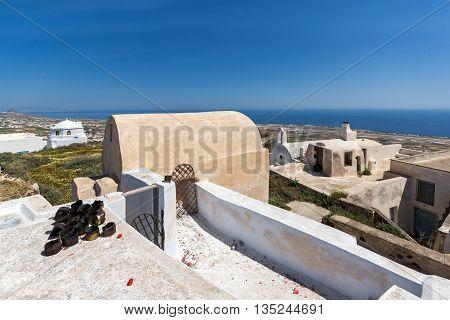 Panoramic view to castle of Pyrgos Kallistis, Santorini island, Thira, Cyclades, Greece