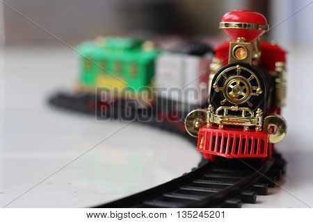 Train toys  Train toys with background blur and focus on the head railwith background blur
