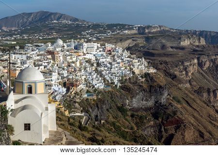 Panoramic view to town of Fira and Prophet Elias peak, Santorini island, Thira, Cyclades, Greece