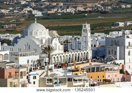 White Church town of Fira, Santorini island, Thira, Cyclades, Greece