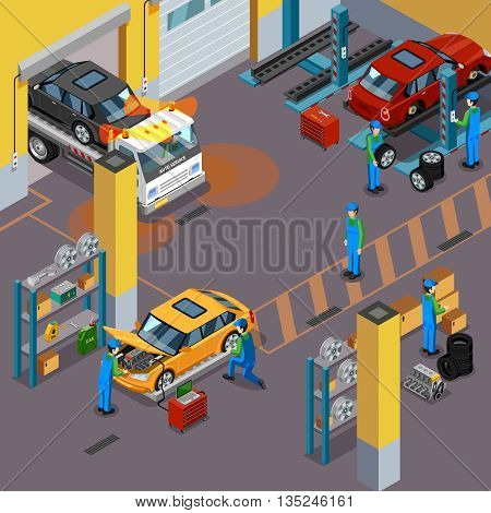 Car service top view isometric concept with workers repairing automobiles in vehicle service center vector illustration