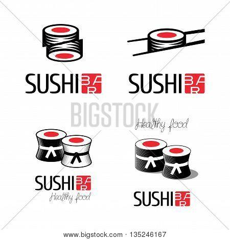 Sushi vector logo set. Asian food emblems for restaurant delivery bar