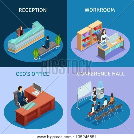 Modern workplace 4 icons square composition poster with ceo office reception and conference hall isolated vector illustration.