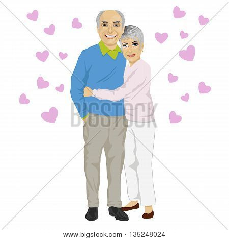 Happy smiling senior couple embracing together with pink hearts isolated on white background