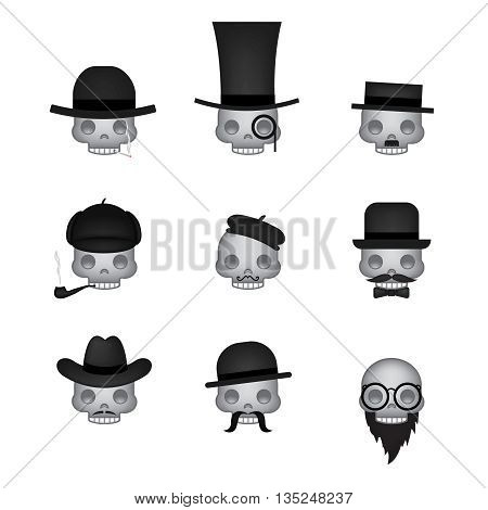 Set of skull emoticon vector isolated on white background. Emoji vector. Smile icon set. Emoticon icon web.