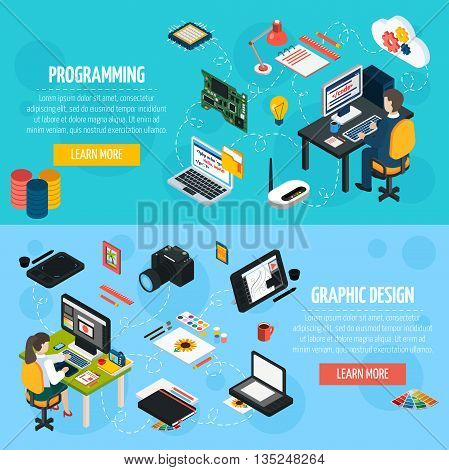 Programming and graphic design banners set with programmer and designer at workplace isometric compositions and  collection of tools and equipment for professional work flat vector illustration.