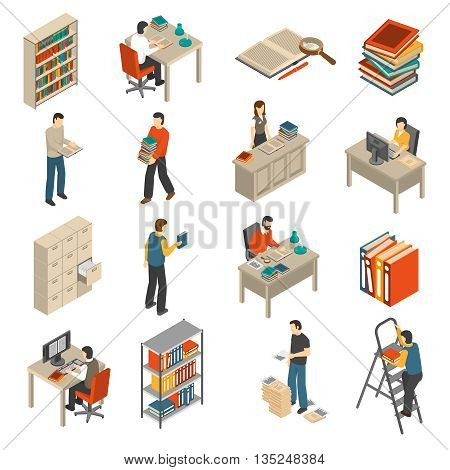 Historical documents manuscripts and publications storage library archive catalog helves isometric icons set abstract isolated vector illustration