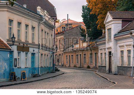 Medieval houses on Uus street in the cloudy day, Tallinn, Estonia