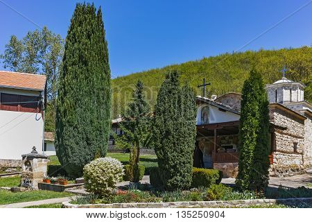Spring view of Temski monastery St. George, Pirot Region, Republic of Serbia