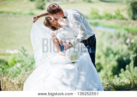 Wedding couple in love at forest background panorama