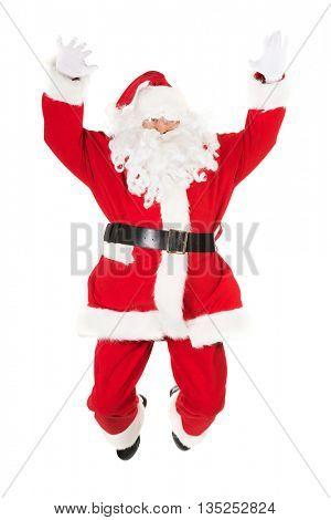 Cheerful Santa Claus jumping