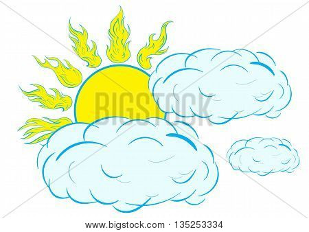 Illustration with the sun the closed cloud, cloudy weather