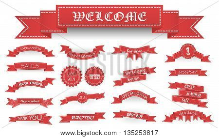 Embroidered Soft Red Vintage Ribbons And Stumps With Business Text And Shadows Isolated On White. Ca