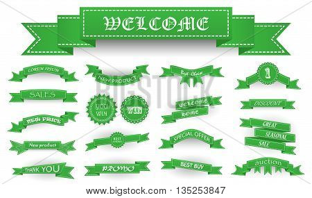 Embroidered Soft Green Vintage Ribbons And Stumps With Business Text And Shadows Isolated On White.