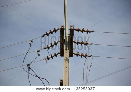close up electricity post in country Thailand