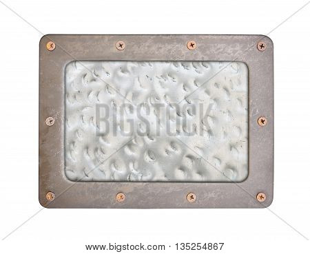 metal texture pattern style of steel background plate with frame and screws