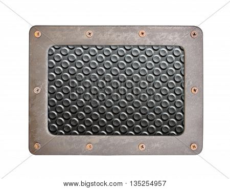 black plastic surface with rough background plate with frame and screws