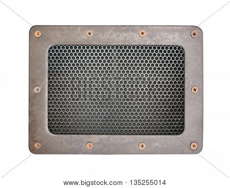 metal mesh Seamless Pattern background plate with metal frame and screws