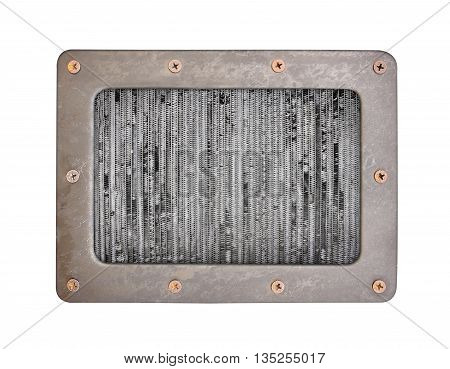 steel background plate with frame and screws