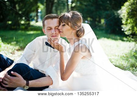 Close Up Portrait Of Lovely Wedding Couple