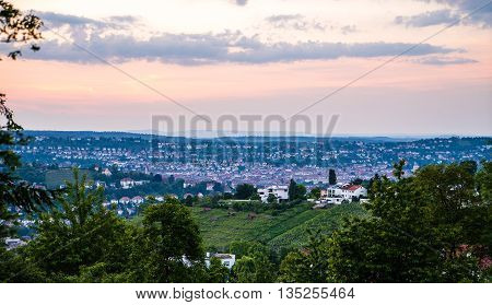 Stuttgart Germany View over outskirts forest May evening