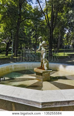 Small Fountain in the  park in the center of the town of Hisarya, Plovdiv Region, Bulgaria