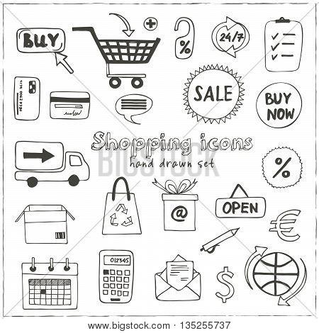 Set of doodle sketch shopping icons with plastic card money bags tags shopping carts basket bags isolated vector illustration