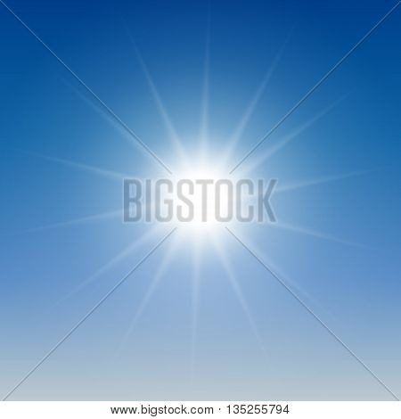 White glowing light burst sun on blue sky background. Vector illustration for cool effect decoration with ray sparkles. Bright star. Transparent shine gradient glitter, bright flare. Glare texture.