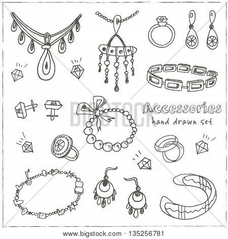 Accessories sketch icon set. Vintage hand drawn vector isolated illustrations of jewelry