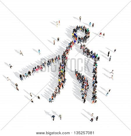 Large and creative group of people gathered together in the shape of a man, Nordic walking, competition, sport. 3D illustration, isolated against a white background.