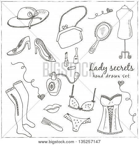 Hand drawn elegant vintage ladies set with retro woman fashion clothes and decorative elements isolated vector illustration