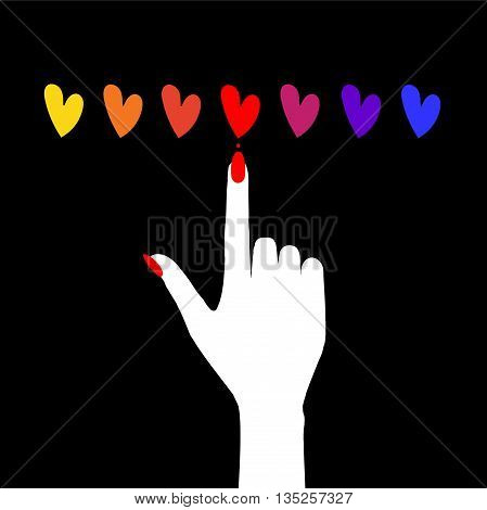 Vector templates of hearts and hand with nails for an emblem of salon of manicure