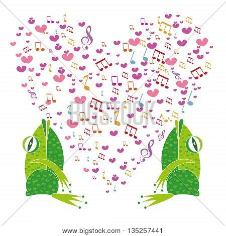 Two frogs on a background of hearts. Template Valentine greeting cards. The musical notes in the shape of a heart. Heart made of musical notes. Doodle Hearts. Valentine's day cards.