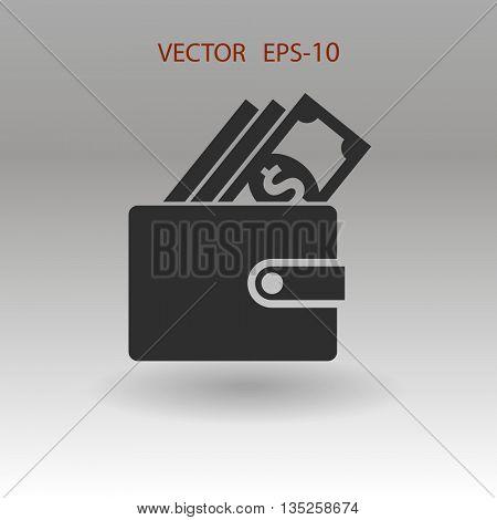 Flat shadow Wallet icon, vector illustration