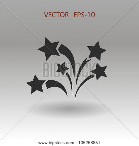 Flat firework icon. Vector.