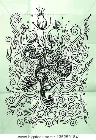 Hand Drawn Doodle Flower,vector Illustration Of Flower