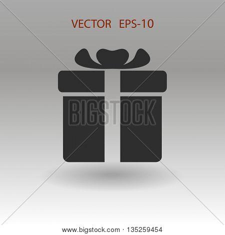 Flat shadow Gift box icon, vector illustration