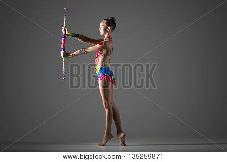 Gymnast Girl With Mace