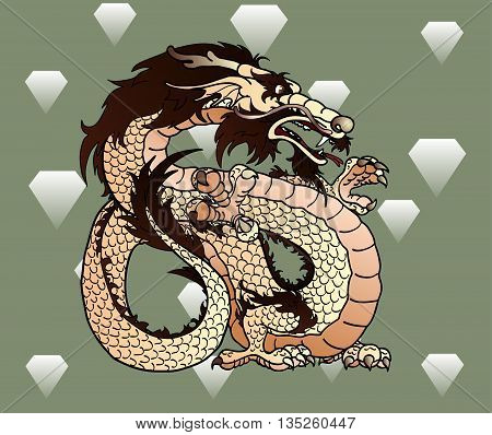 Strong beige with brown earth Asian chinese dragon against diamonds