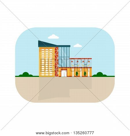 Shopping center with facade cafe. Shops stores and supermarket buildings. Cartoon flat vector illustration. Objects isolated on a background.
