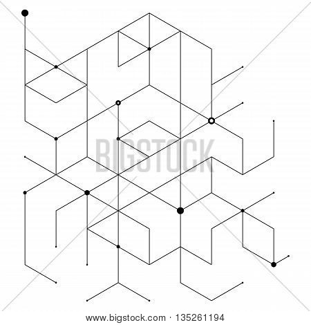 Geometric lines and dots. Line pattern. Modern cube background. Cell abstraction. Connection vector illustration for print and web design.