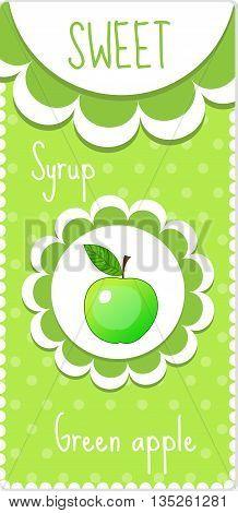 Sweet fruit labels for drinks syrup jam. Green apple label. Vector illustration