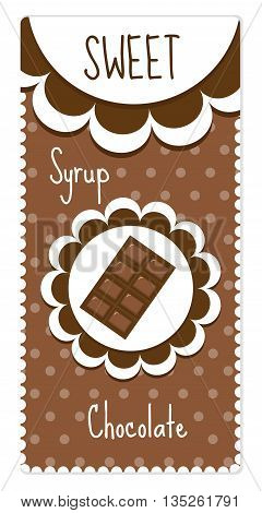Sweet chocolate labels for drinks syrup. Vector illustration