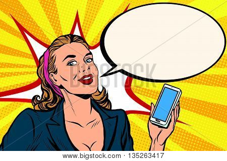 Businesswoman with smartphone in hand pop art retro vector. Successful girl. Retro business people