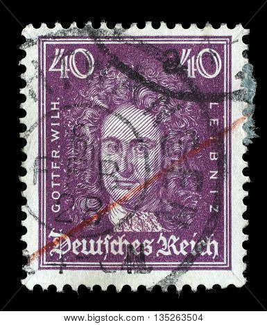 ZAGREB, CROATIA - JUNE 22: A stamp printed in the German Reich shows Gottfried Wilhelm von Leibniz, polymath, mathematician, and philosopher, circa 1926, on June 22, 2014, Zagreb, Croatia