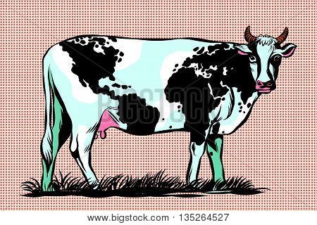 Cow Milk world map pattern on the skin pop art retro vector. Meat milk international business. Agriculture