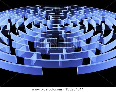 Circular 3d maze of blue color. Isolated on black background