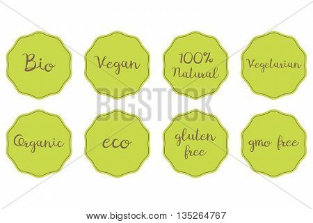 vector set of green stickers for healthy food. 100% Natural Organic Bio Vegan Vegetarian Eco Glunen GMO free symbols