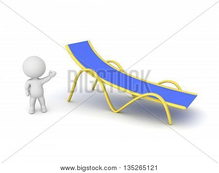 Small 3D character showing a beach chair. Isolated on white background.